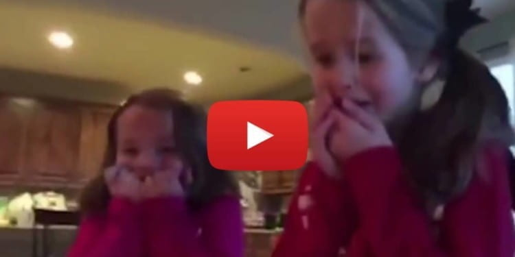 Excited Sisters Find A Baby Brother Under The Christmas Tree